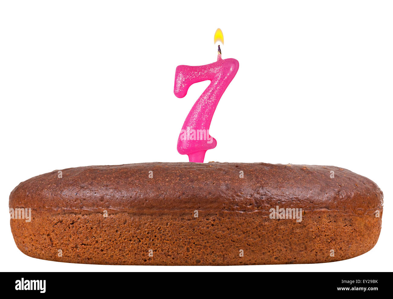 Birthday Cake With Candles Number 7 Isolated
