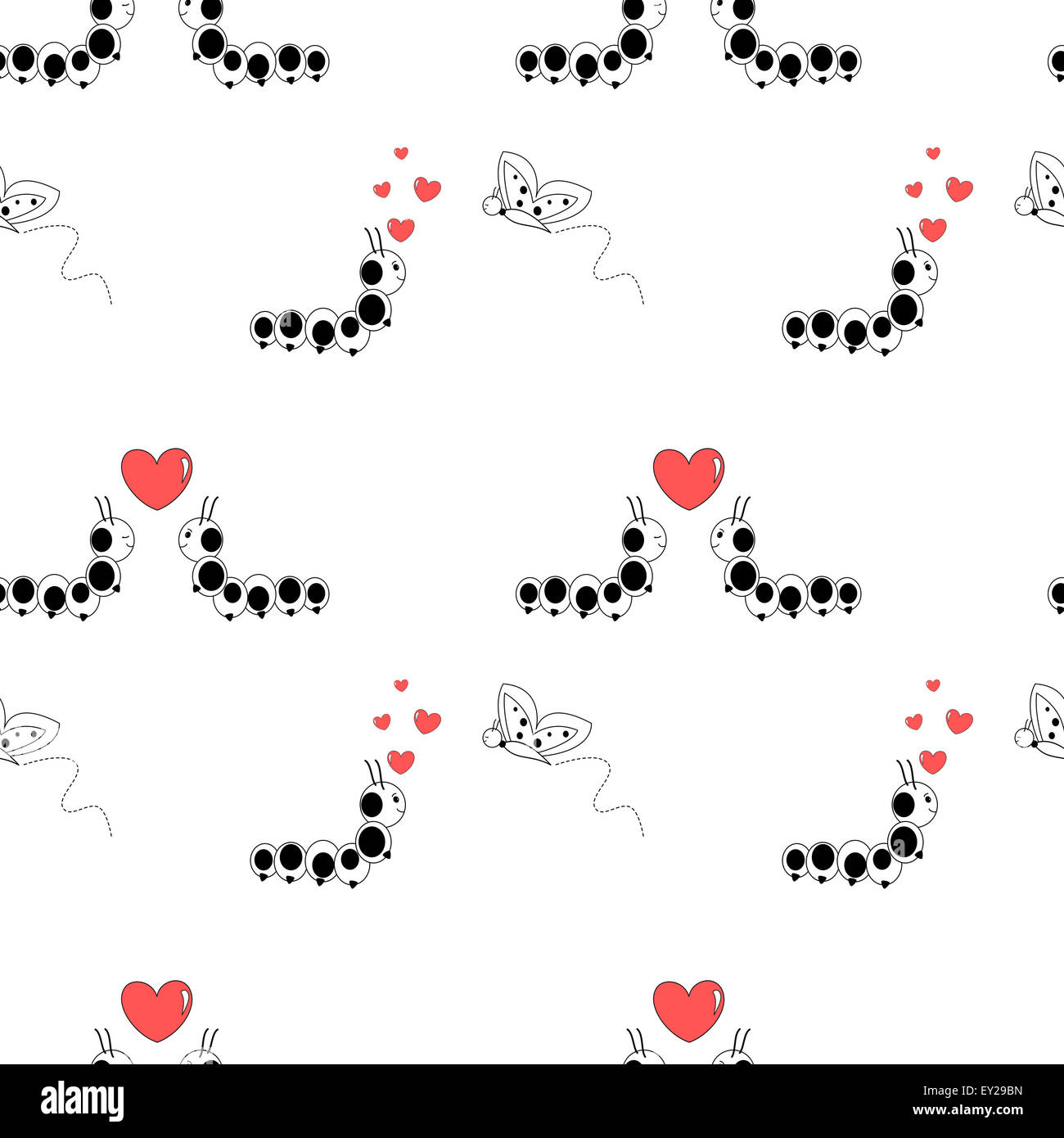 Cartoon Caterpillar Love Cycle Cute Romantic Seamless Pattern Stock