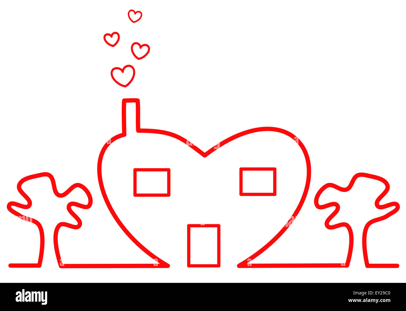 heart house concept illustration - Stock Image