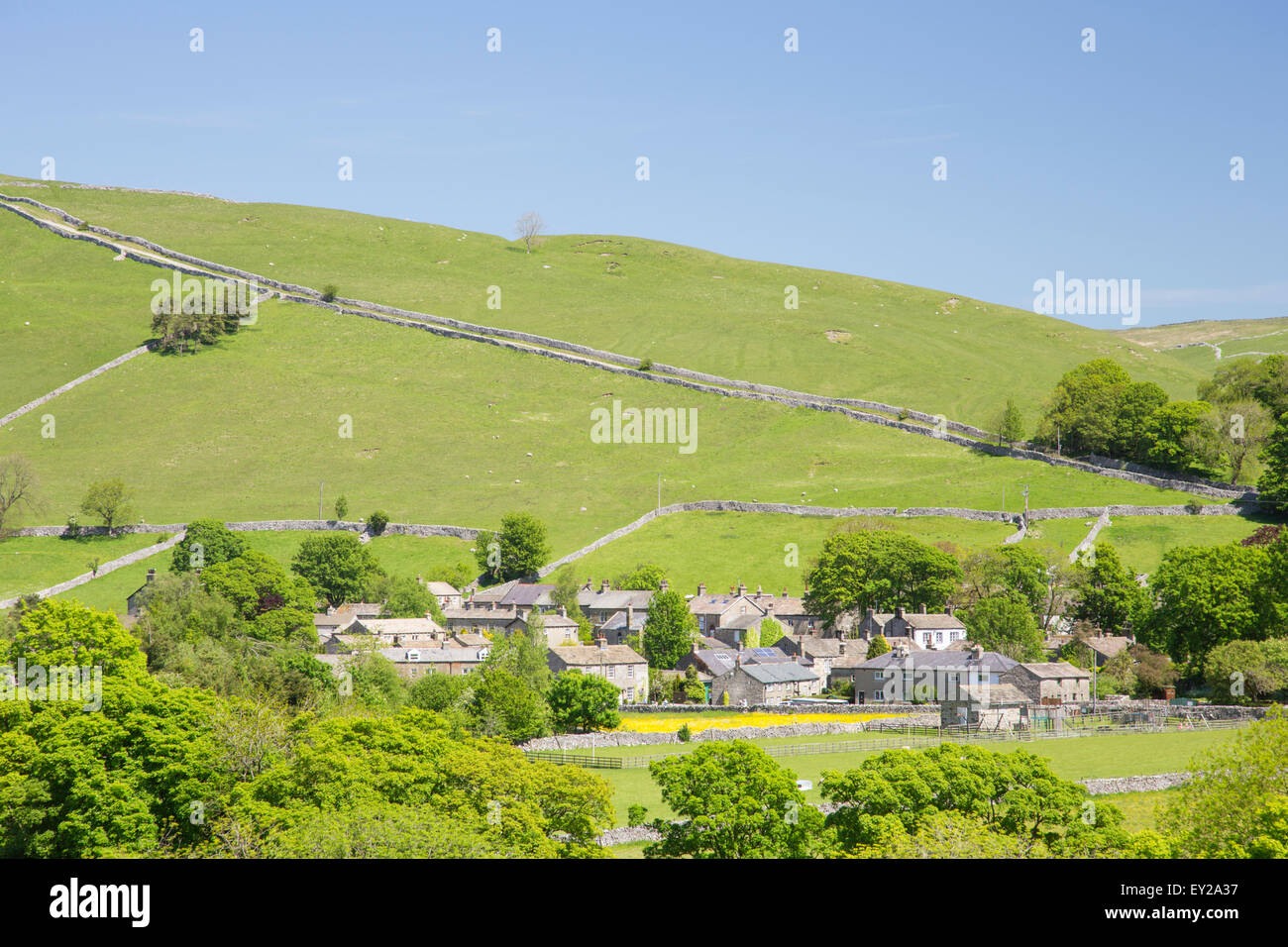 The village of Kettlewell in Wharfdale, Yorkshire Dales National Park, North Yorkshire, England, UK - Stock Image