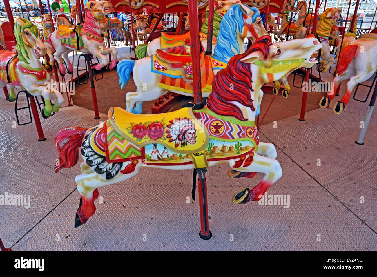 Colorful B Carousel Horses At Luna Park Off The Coney Island Boardwalk In