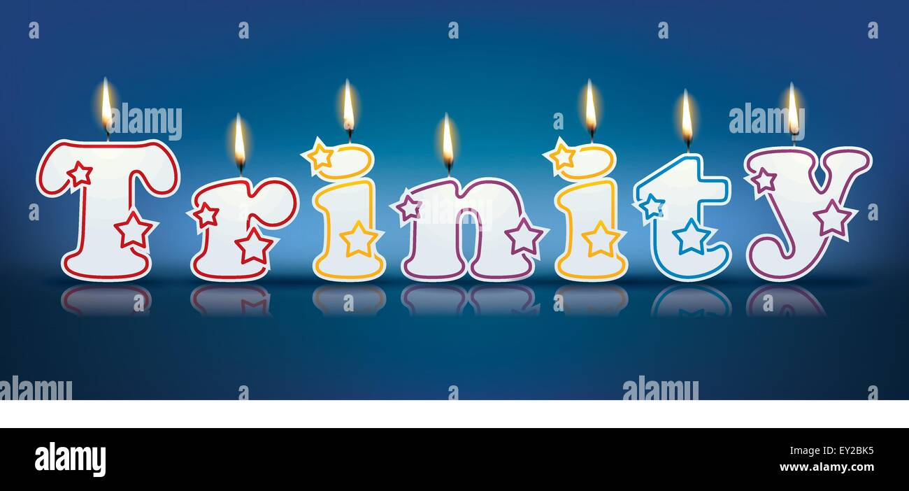 TRINITY written with burning candles - vector illustration - Stock Vector