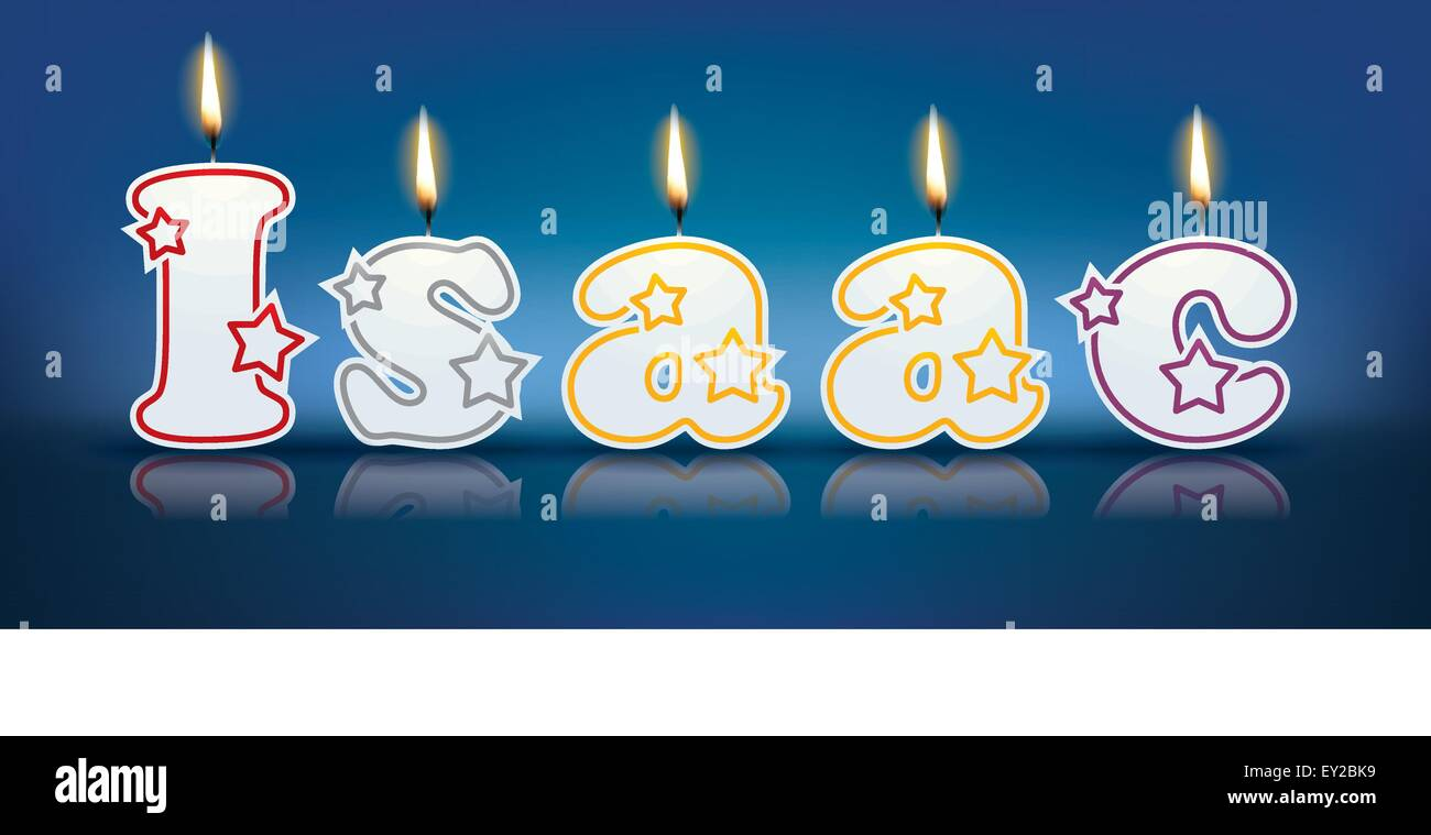 ISAAC written with burning candles - vector illustration - Stock Vector