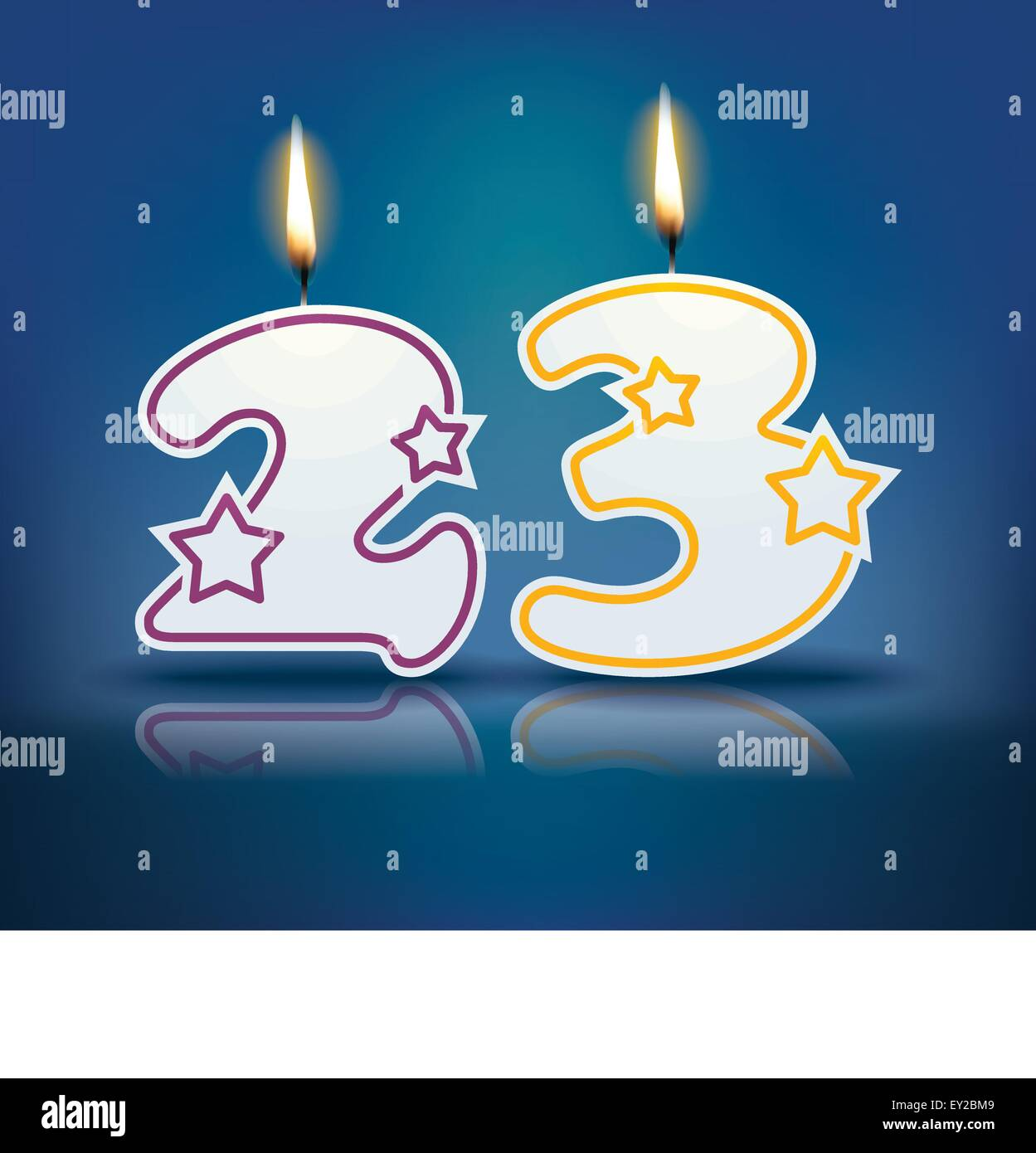 Birthday candle number 23 with flame - eps 10 vector illustration - Stock Vector
