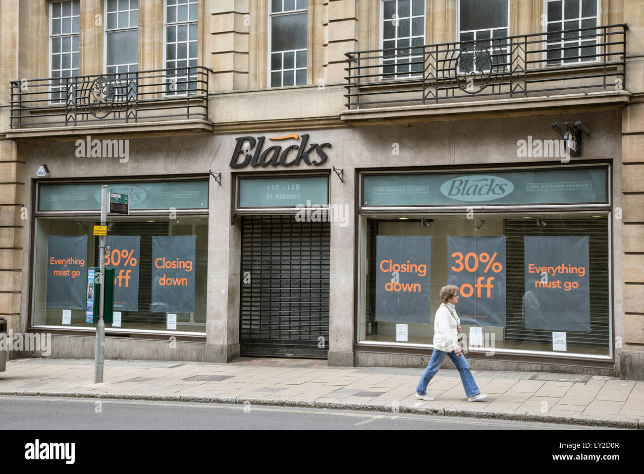 A closing down sale at Blacks outdoor shop, Oxford, Oxfordshire, England, UK - Stock Image
