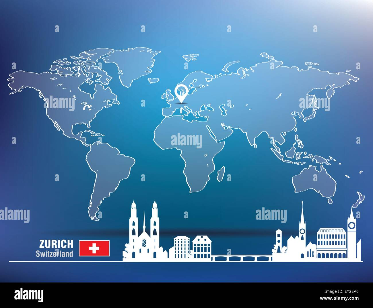 Map pin with Zurich skyline - vector illustration - Stock Vector
