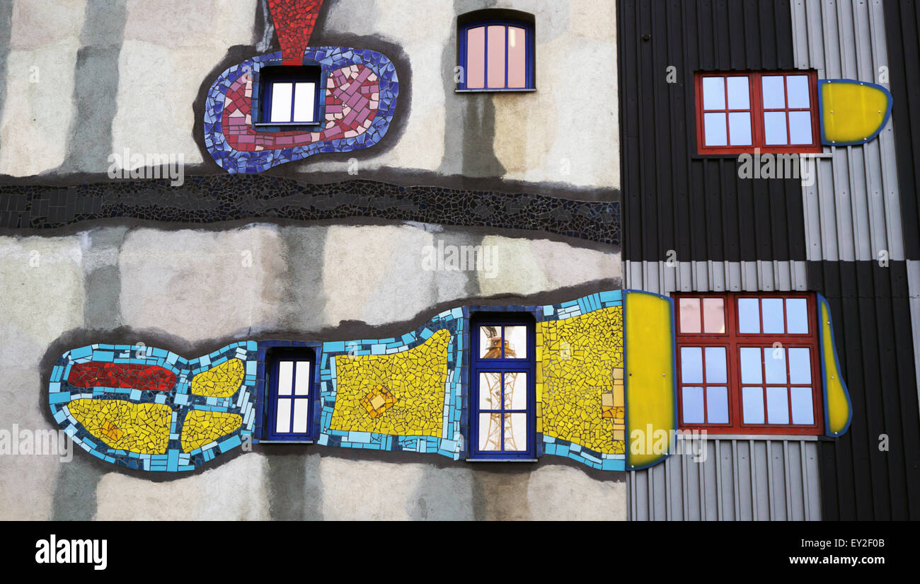 visual art on building facade in Vienna, Austria - Stock Image