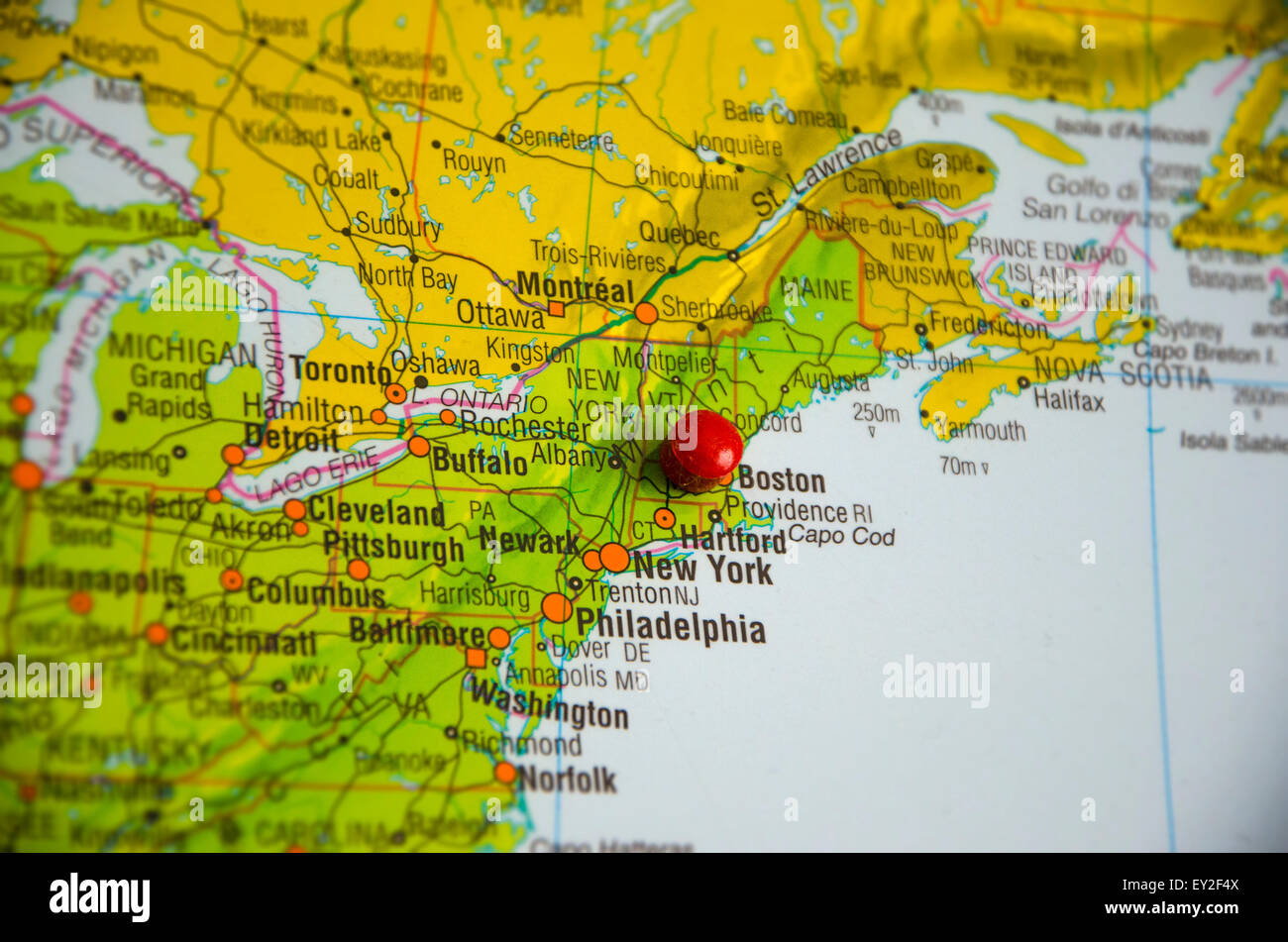Cartina Usa East Coast.Placeholder On The City Of Boston In The Map Of The United States Stock Photo Alamy