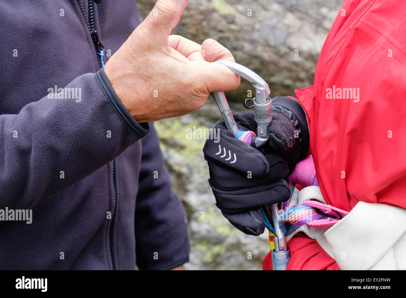 Climber teaching a novice to fasten a karabiner to a climbing harness. Wales, UK, Britain - Stock Image