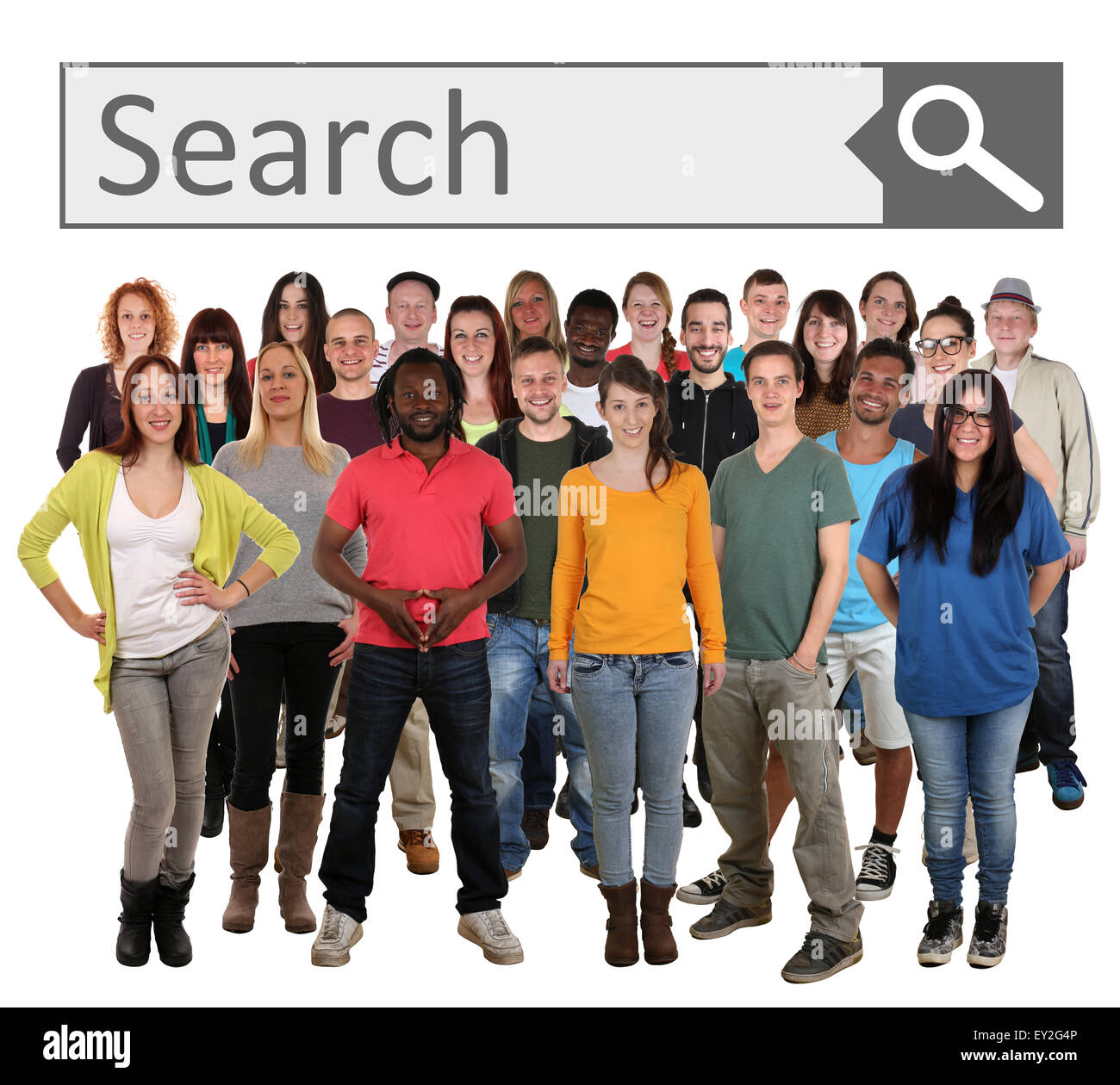 Large group of young smiling people searching with search engine on internet isolated on a white background - Stock Image