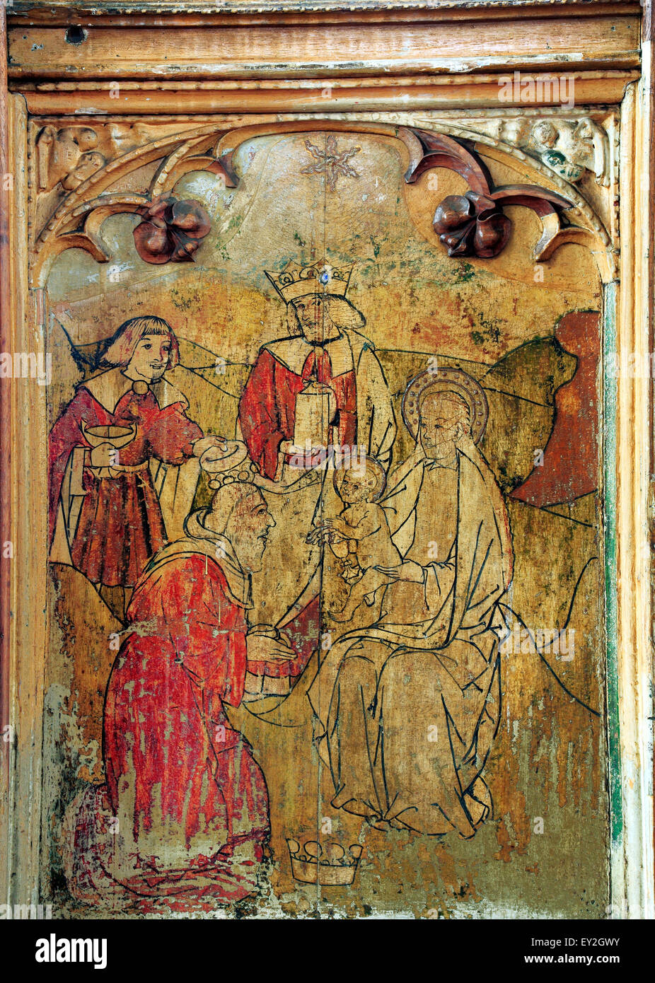Adoration of the Magi, Three Wise Men, Loddon, Norfolk, medieval rood screen, gifts of gold, frankincense, myrrh, - Stock Image