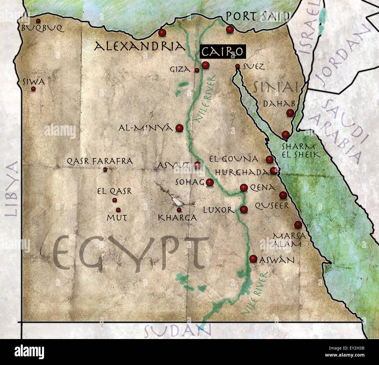 Egypt Sinai Peninsula Map Stock Photos & Egypt Sinai ...
