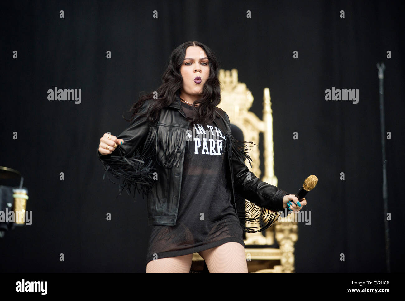 Jessie J performs on the main stage at T In The Park Festival at Strathallan Castle on July 11, 2015 in Strathallan, - Stock Image