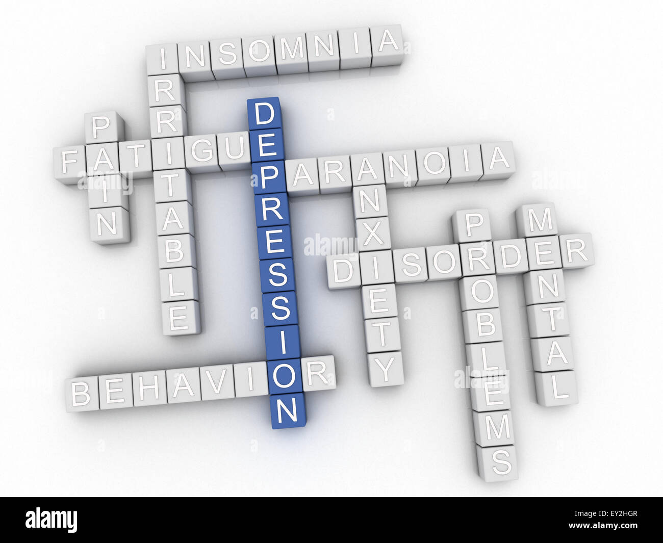 3d image Depression issues concept word cloud background - Stock Image