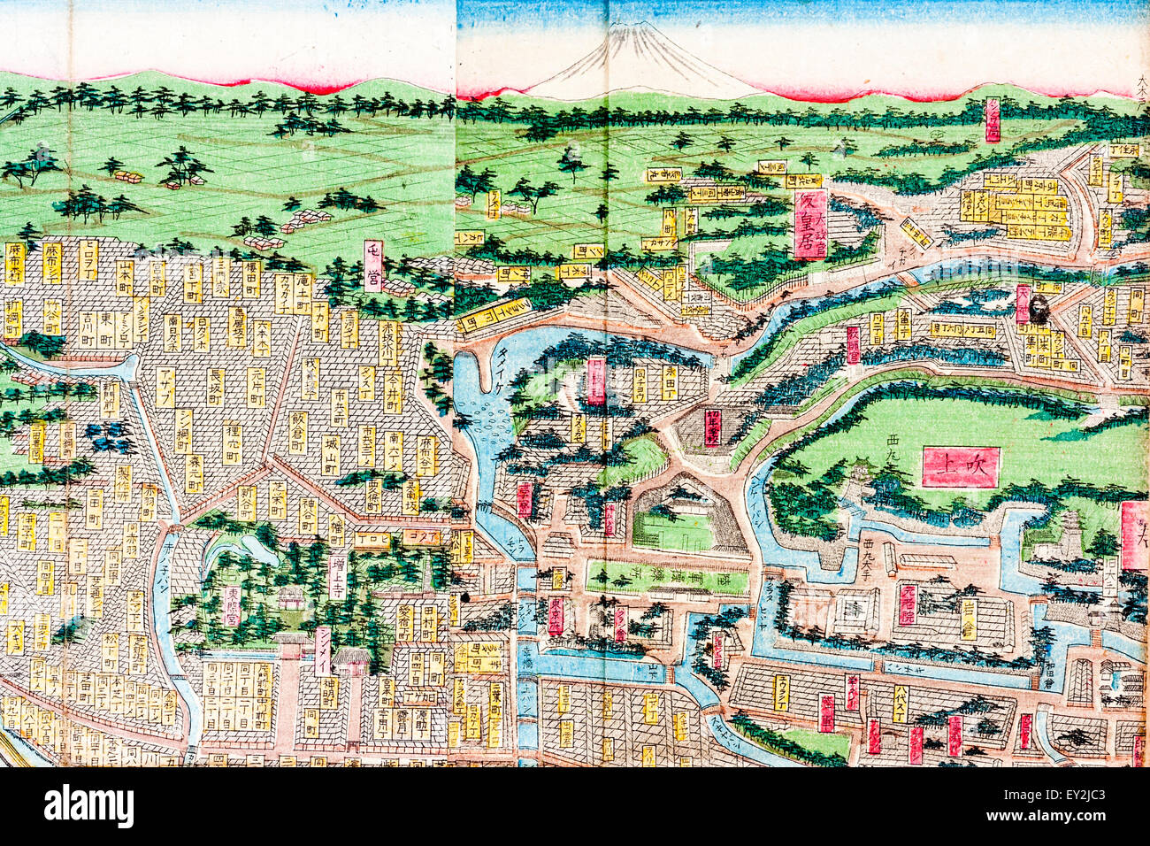 1882 Colour Map of Tokyo Edo showing
