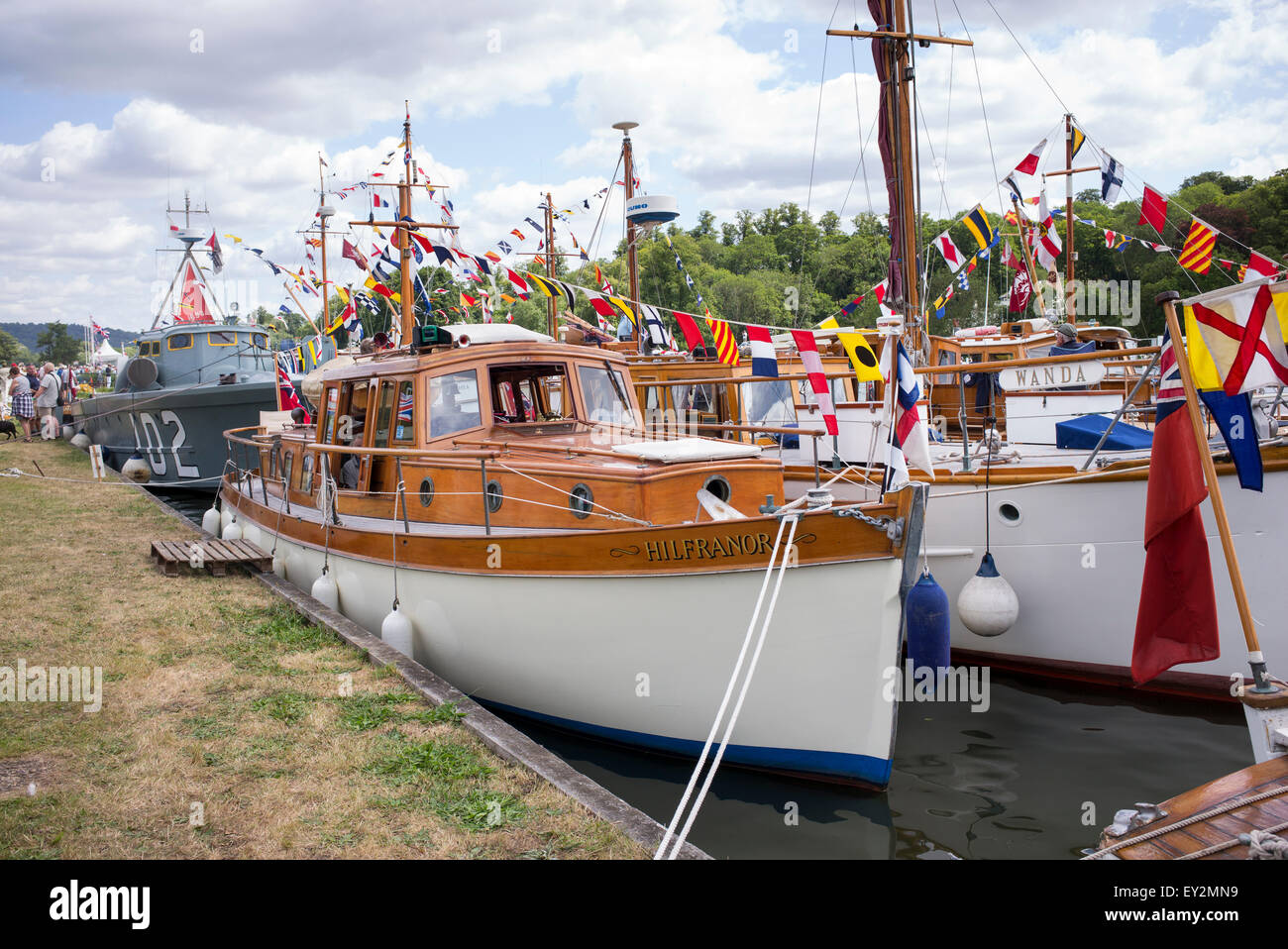 Dunkirk little ships at the Thames Traditional Boat Festival, Fawley Meadows, Henley On Thames, Oxfordshire, England Stock Photo