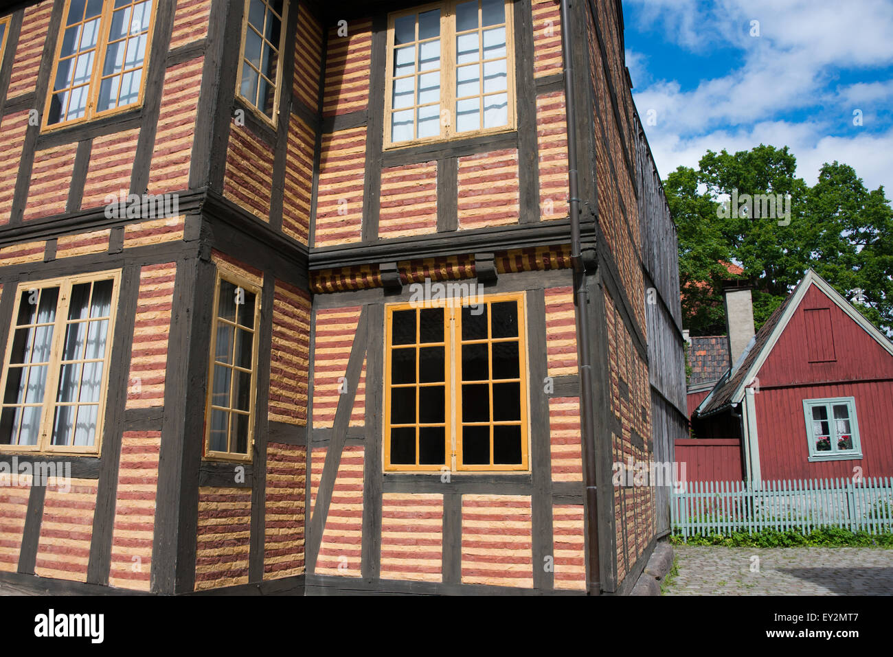 Norway, Oslo, Norsk Folk Museum (aka Norsk Folkemuseum), Historic wooden Town House mansion (#221) c. 1700-1722. - Stock Image