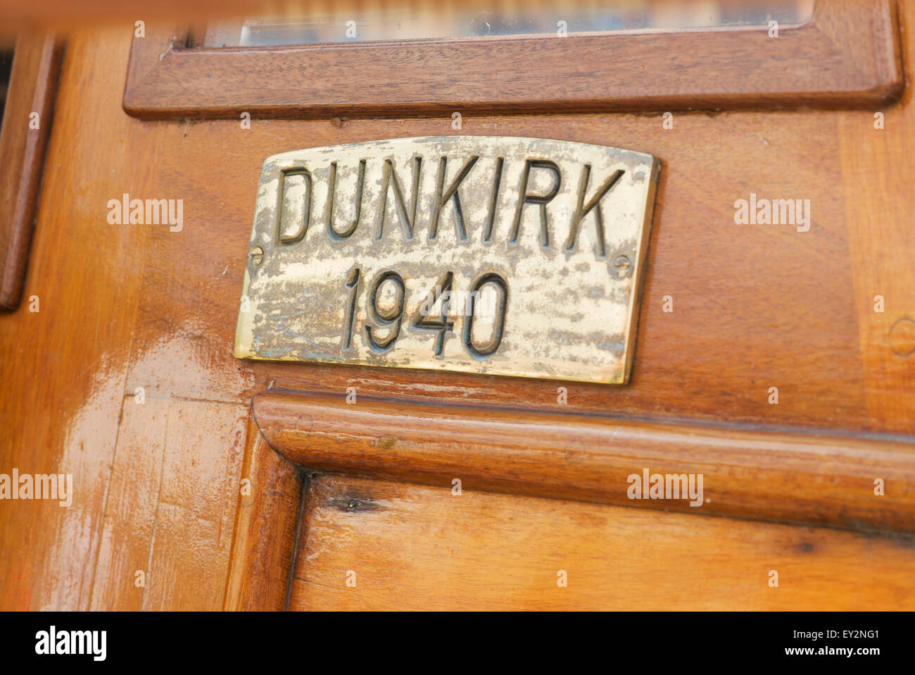 Brass plaque on a Dunkirk little ship at the Thames Traditional Boat Festival, Fawley Meadows, Henley On Thames, - Stock Image