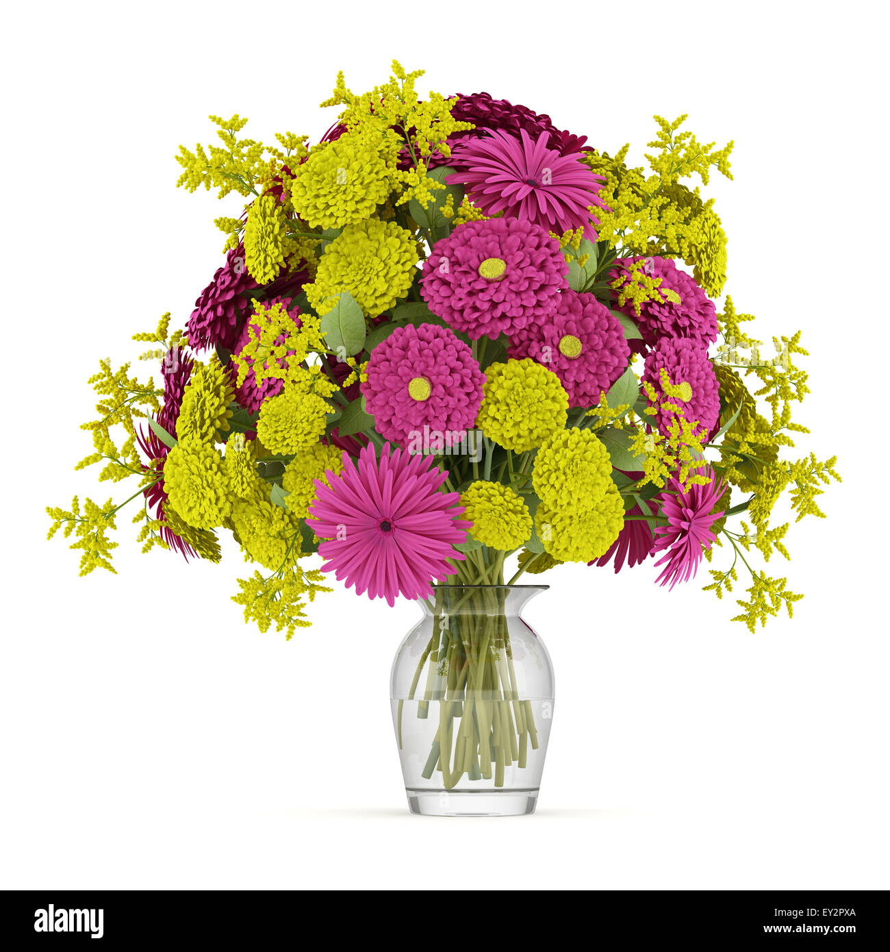 Bouquet of yellow and purple flowers in vase isolated on white stock bouquet of yellow and purple flowers in vase isolated on white background izmirmasajfo