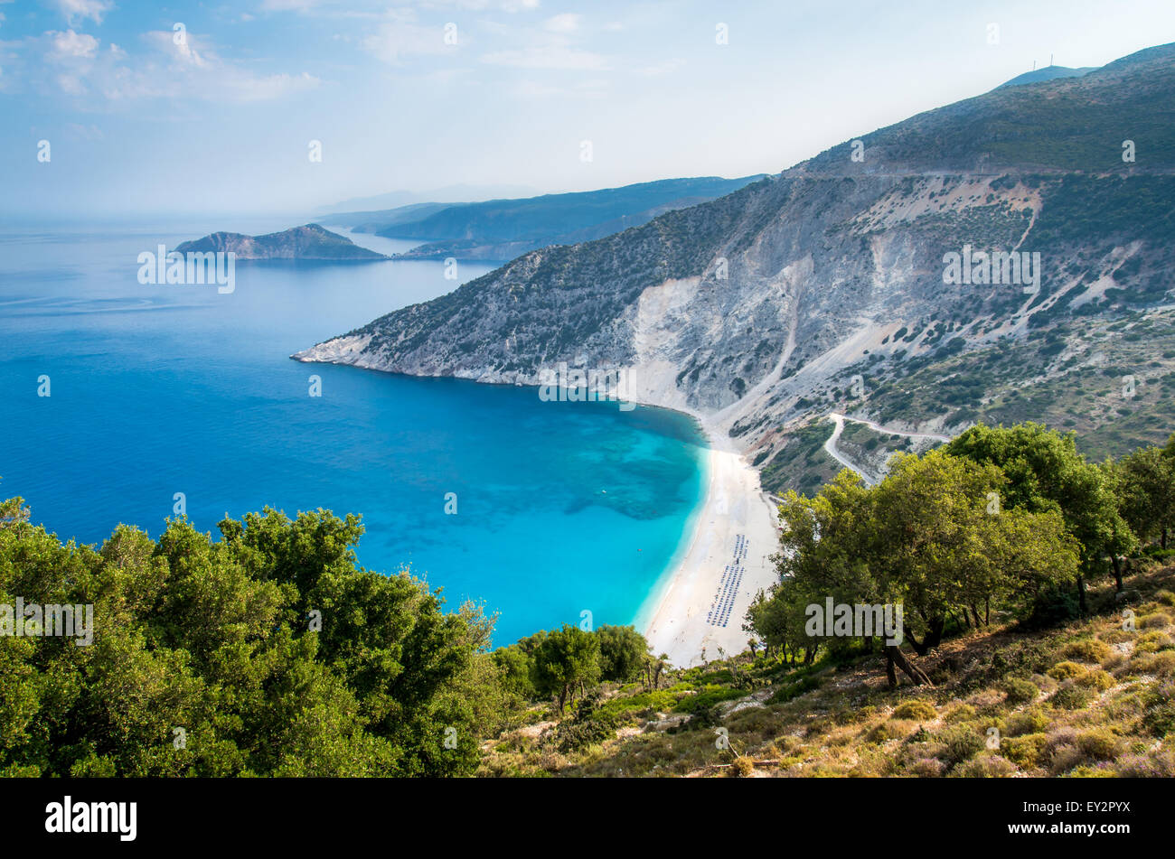 Myrtos beach, Kefalonia island, Greece. Aerial view - Stock Image