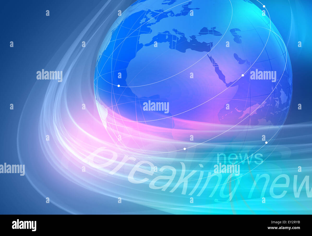 Graphical breaking news blue background with earth globe. Stock Photo