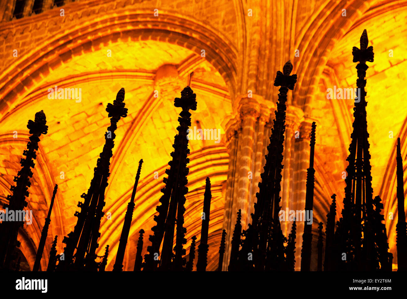 Cathedral interior, Concept - religion, Christianity, catholicism, Catholic; Barcelona Cathedral, Barcelona Spain - Stock Image