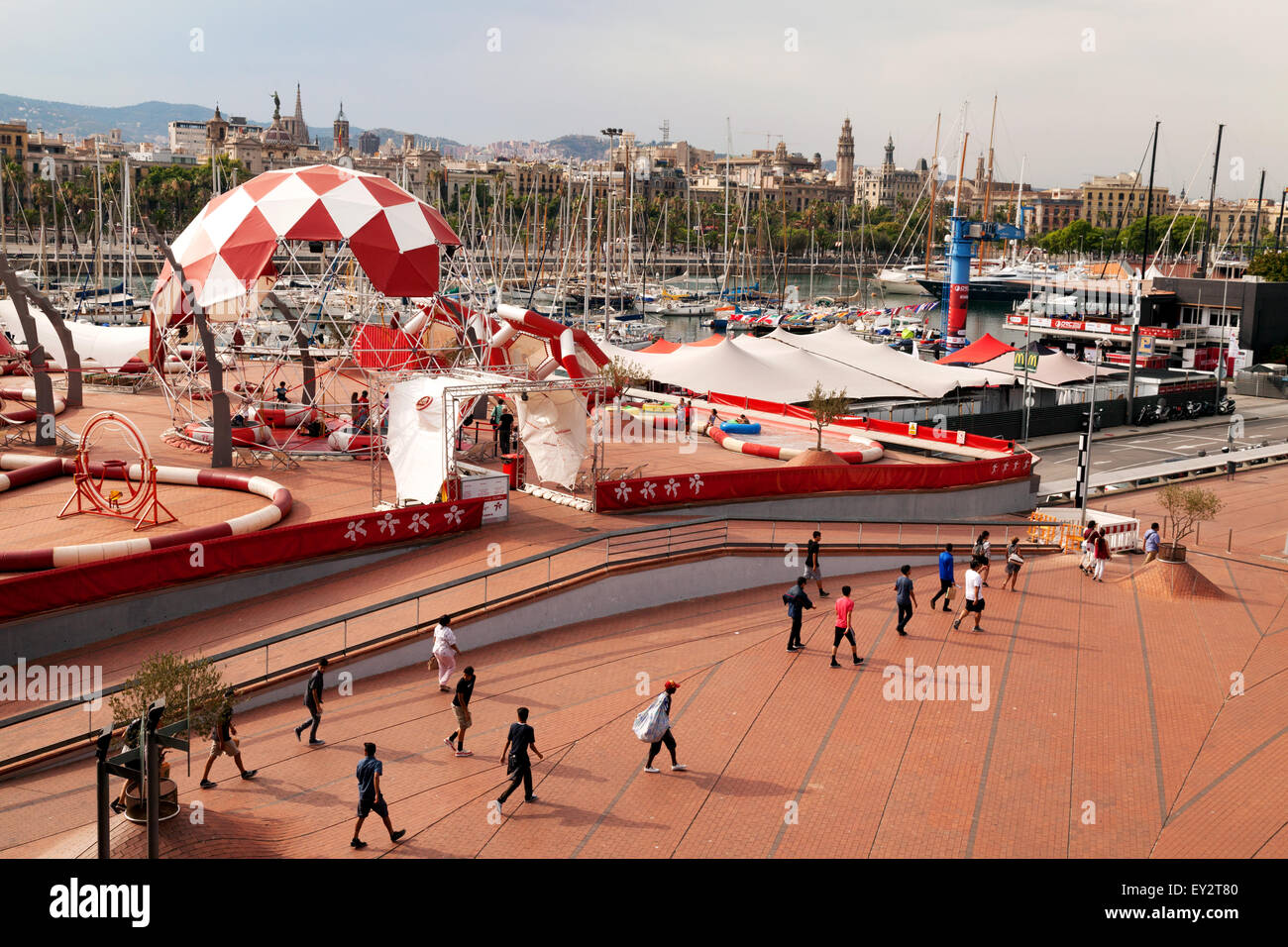 Outdoor exercise and gym area set up at Port Vell, Barcelona, Spain Europe - Stock Image