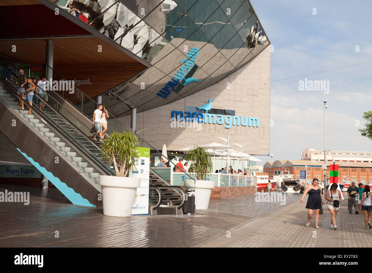 The entrance to the Maremagnum shopping and cinema complex centre, Port Vell, Barcelona Spain Europe - Stock Image