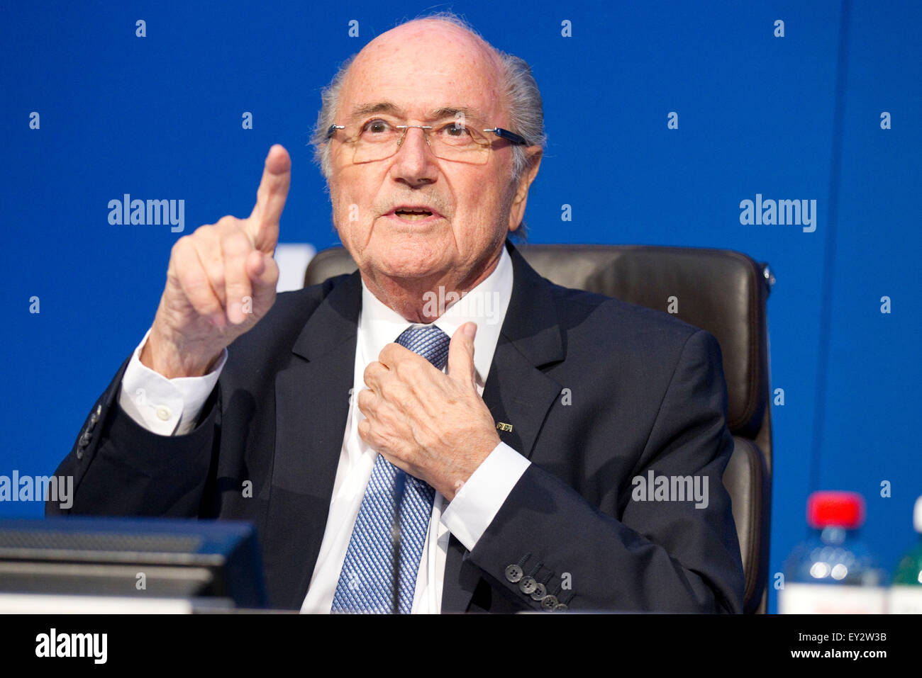 Zurich, Switzerland. 20th July, 2015. FIFA President Joseph Blatter attends a press conference at the Extraordinary - Stock Image