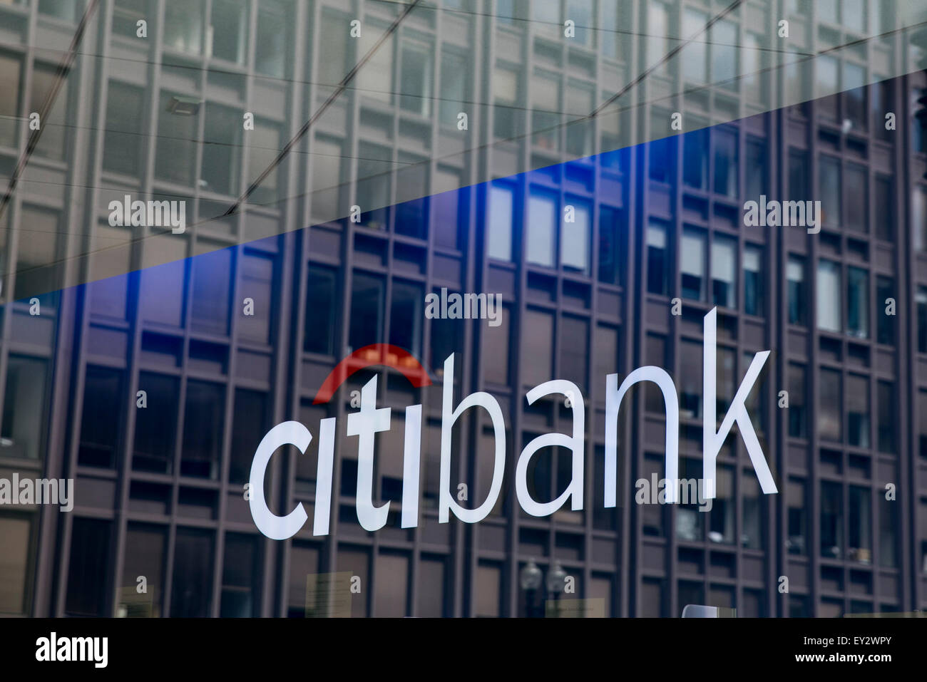 A Citibank logo sign in downtown Washington, D C , on July 11, 2015