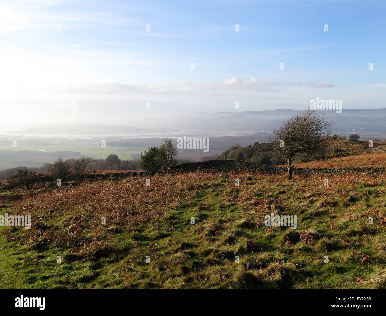 The view of Morecambe Bay from Bigland Hall, Nr Ulverston, English Lake District. UK - Stock Image
