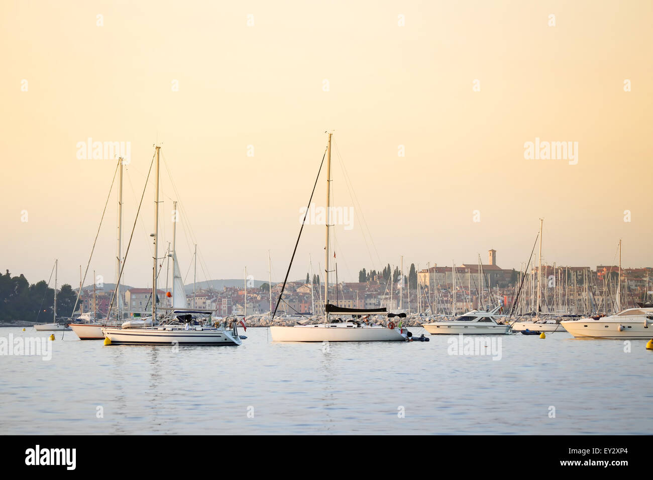 Sailboats anchored in the Adriatic sea near the coast at sunset in Rovinj, Croatia. - Stock Image