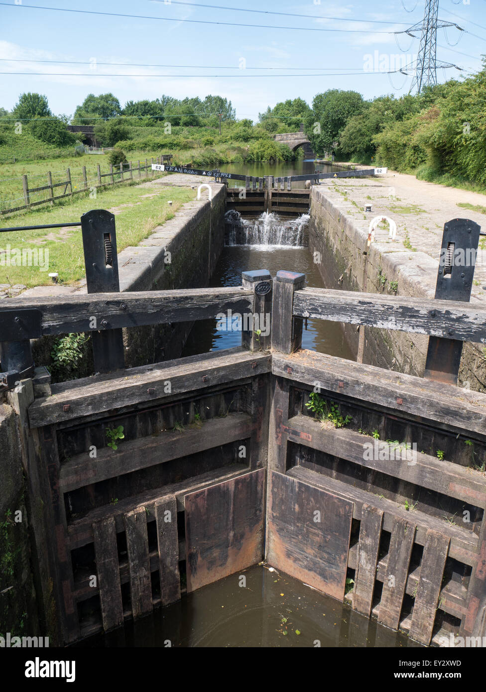 Lock gates on Rochdale Canal near Oldham, Lancashire - Stock Image