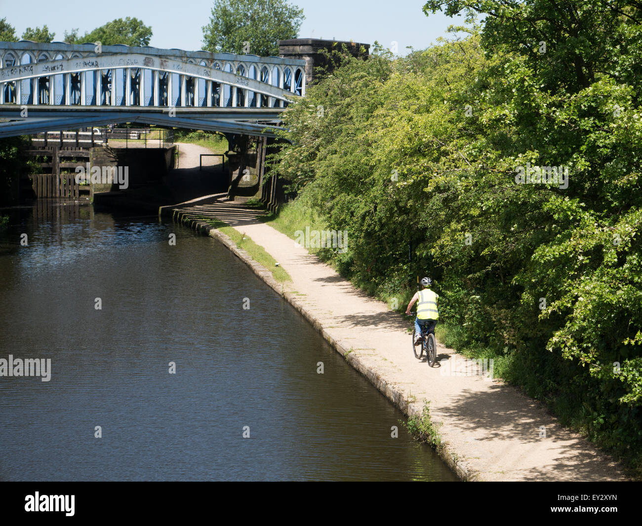 Cyclist on canal towpath - Stock Image