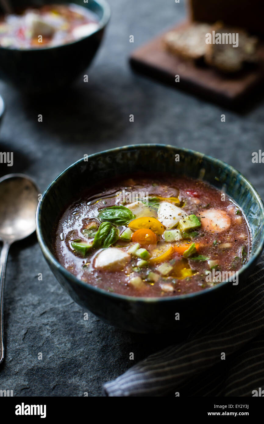 Caprese Gazpacho chilled soup. - Stock Image