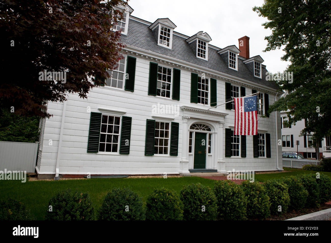 Dalton House with colonial American flag 95 State Street Stock