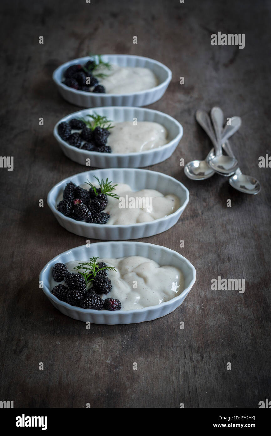 Mulberries and vanilla cream in china dishes on wooden background - Stock Image