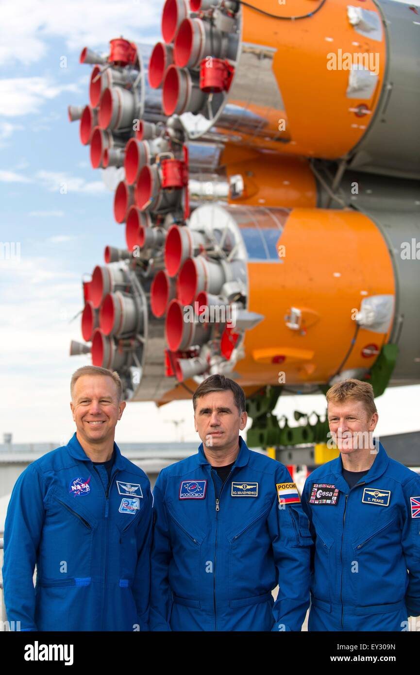 Baikonur Cosmodrome, Kazakhstan. 20th July, 2015. International Space Station Expedition 44 backup crew members - Stock Image