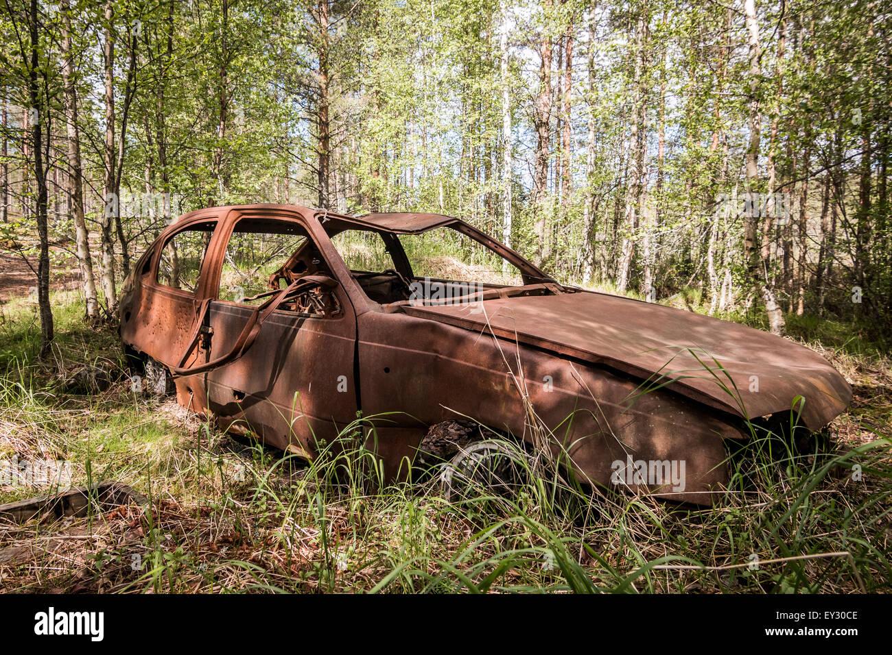 An abandoned car - Stock Image