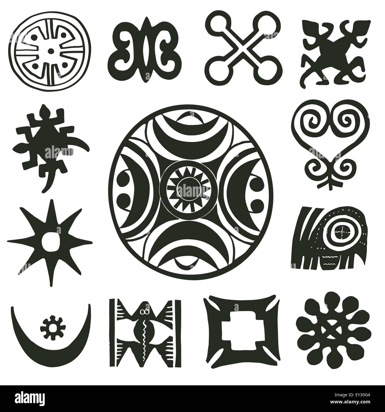 African traditional woodcut motifs collection - Stock Image