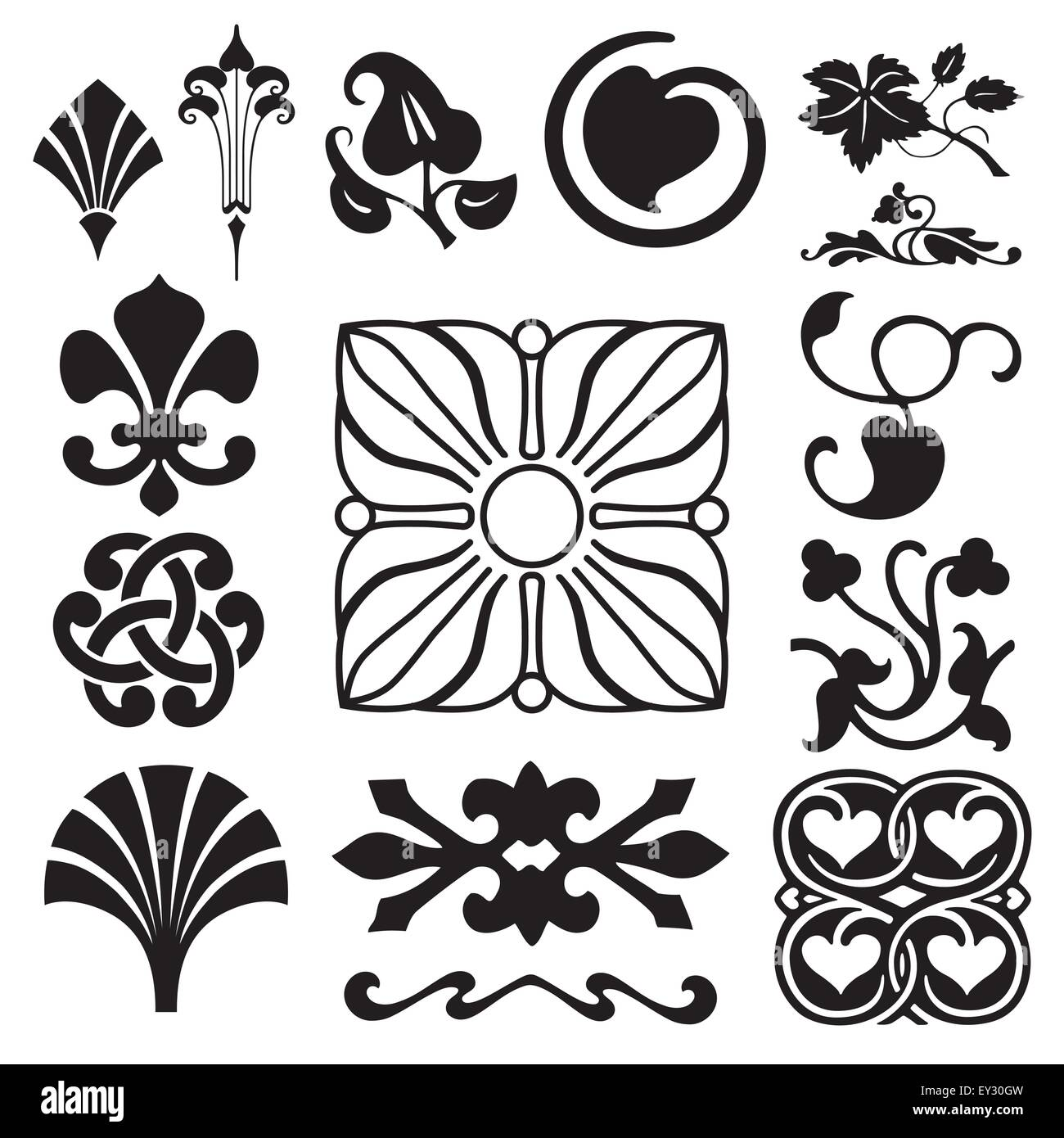 Retro floral ornaments collection - Stock Image