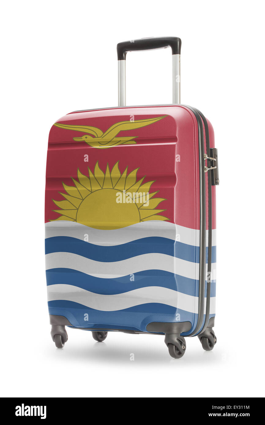 Suitcase painted into national flag - Kiribati - Stock Image
