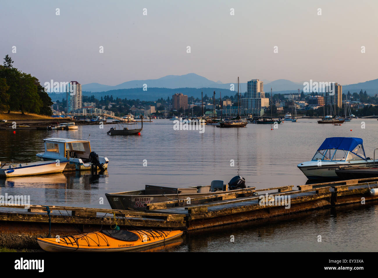 View of the city of Nanaimo from Protection Island, Canada - Stock Image