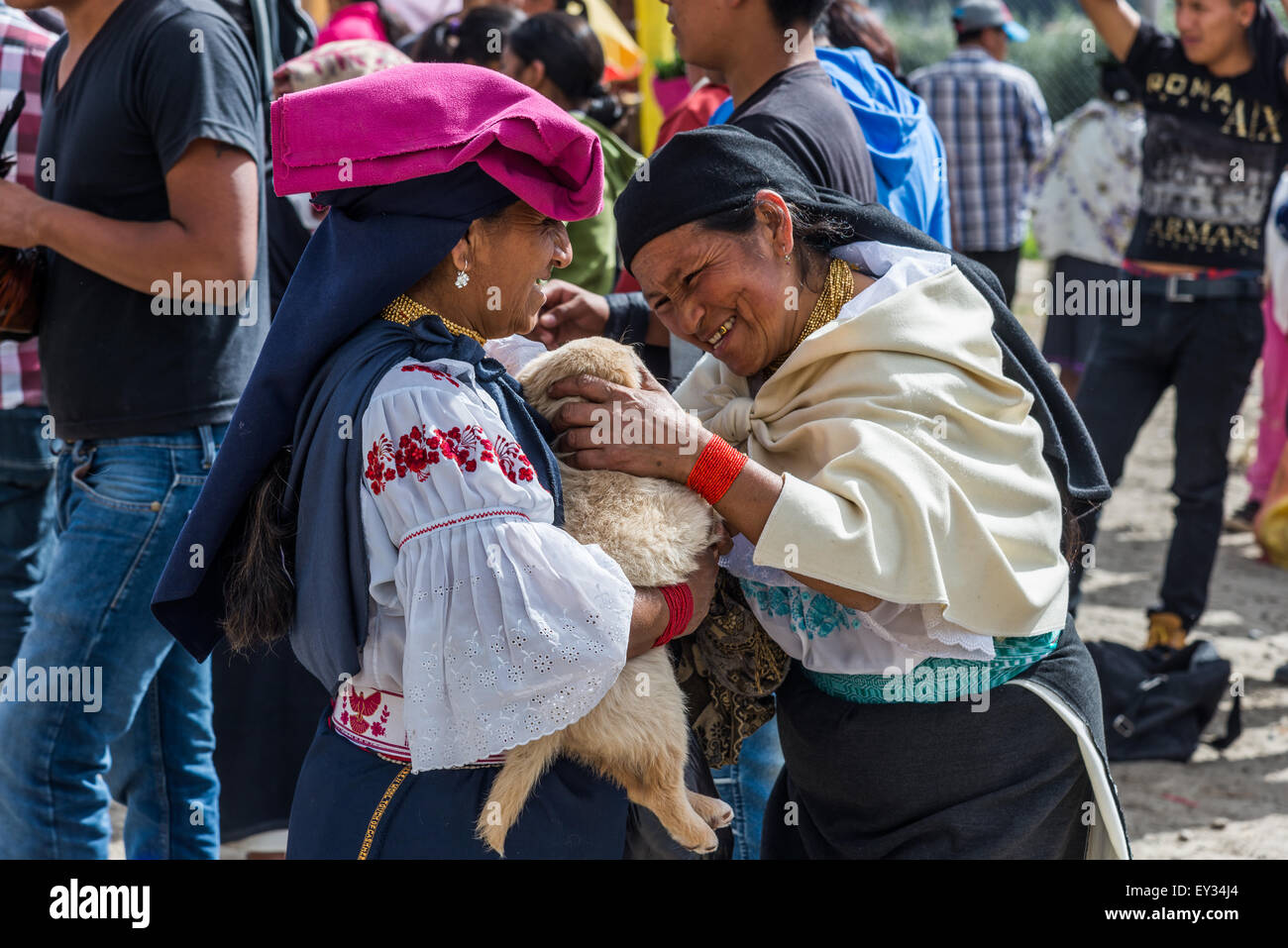 A native woman pets a puppy held by another old lady at local market. Otavalo, Ecuador. - Stock Image
