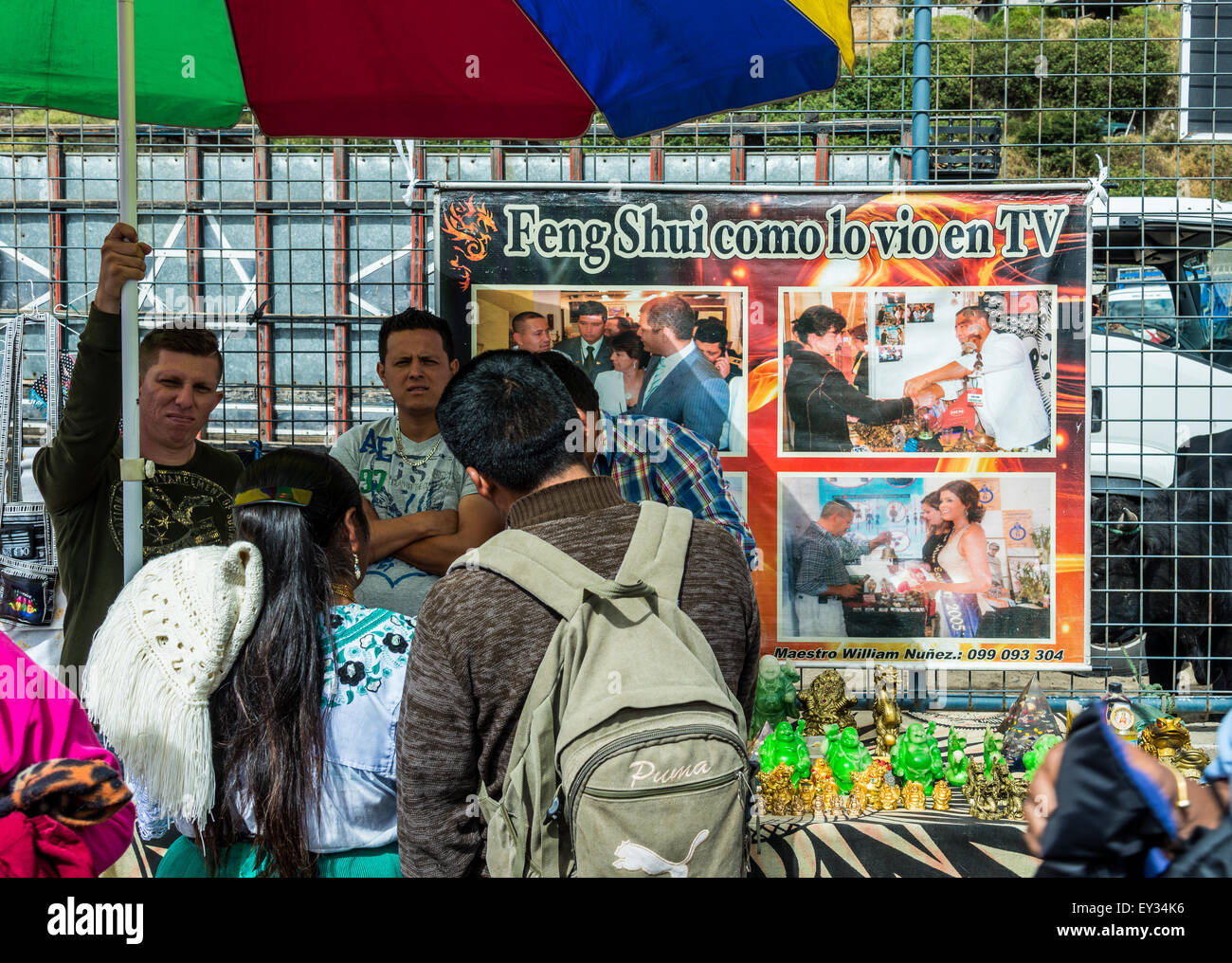 A stand selling Feng Shui gadgets at local market. Otavalo, Ecuador. - Stock Image