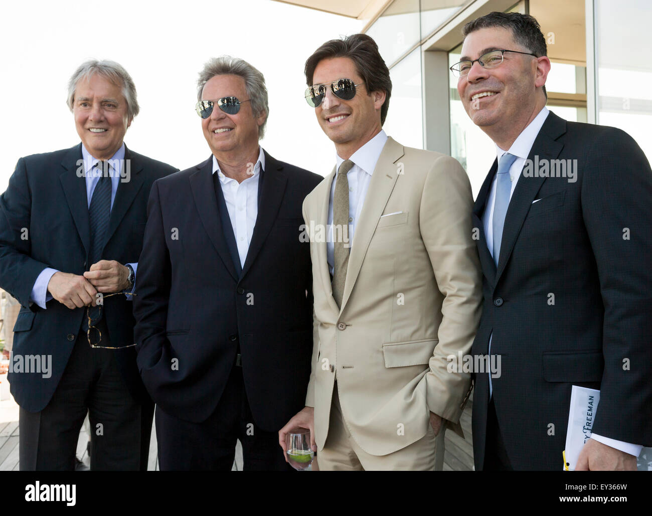 NEW YORK, NY - JULY 16, 2015: Hickey Freeman (white suit) poses at Hickey Freeman presentation as part of New York - Stock Image