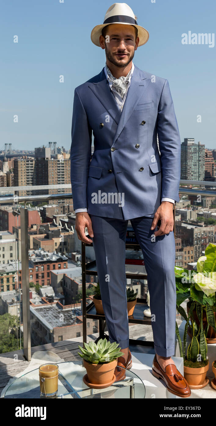 NEW YORK, NY - JULY 16, 2015: Parker Gregory poses at Hickey Freeman presentation as part of New York Fashion Week - Stock Image