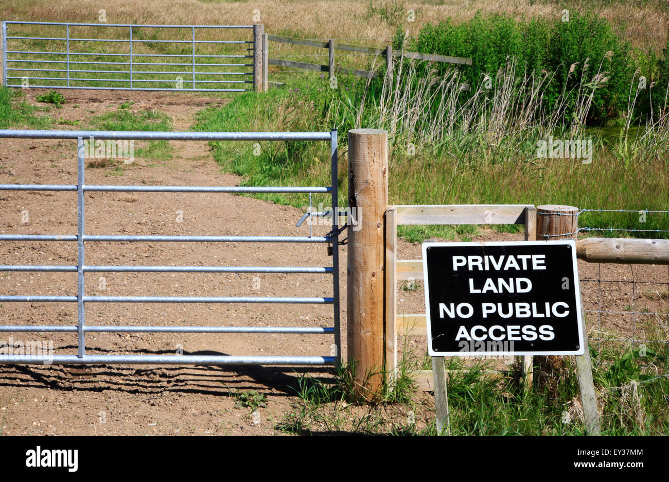 Private Land No Public Access sign by grazing meadows in the Norfolk Broads. - Stock Image