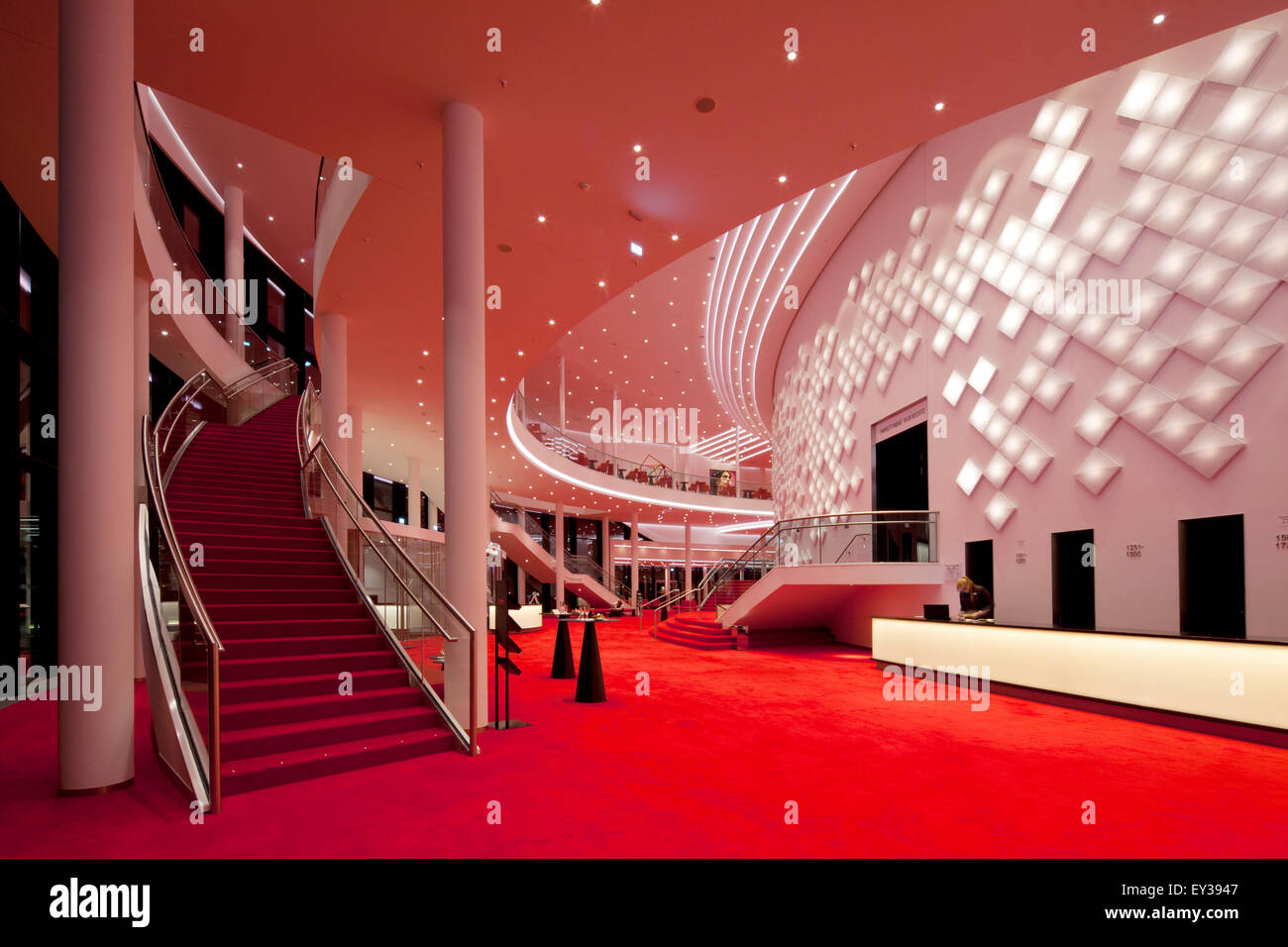 Large foyer on two floors with decorative light installation, Stage Theater an der Elbe, Hamburg, Germany Stock Photo