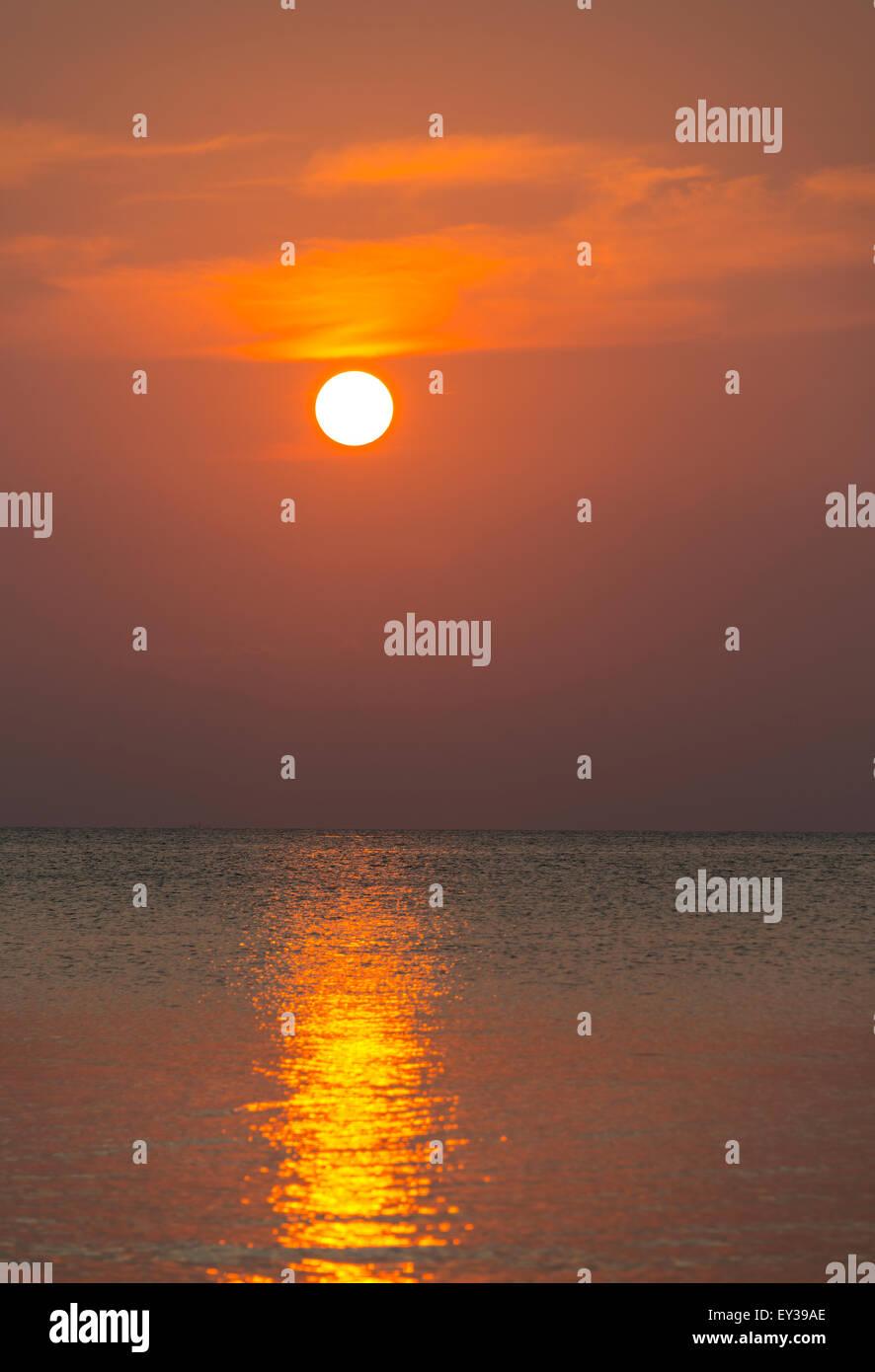 South China Sea at sunset, Gulf of Thailand, Koh Tao island, Thailand - Stock Image